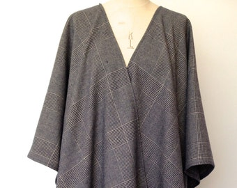 Wool Poncho - Prince of Wales Checked Wool Cape for Men - Gray Oversized Mens Wool Poncho - Plus Size Mens - Grey Poncho Cape - Handmade UK