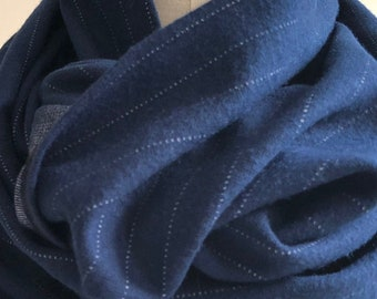 Pinstriped Navy Blue Infinity Scarf