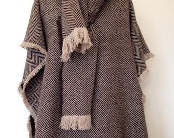 Brown Herringbone Wool Poncho