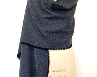 Navy Wool Blanket Scarf