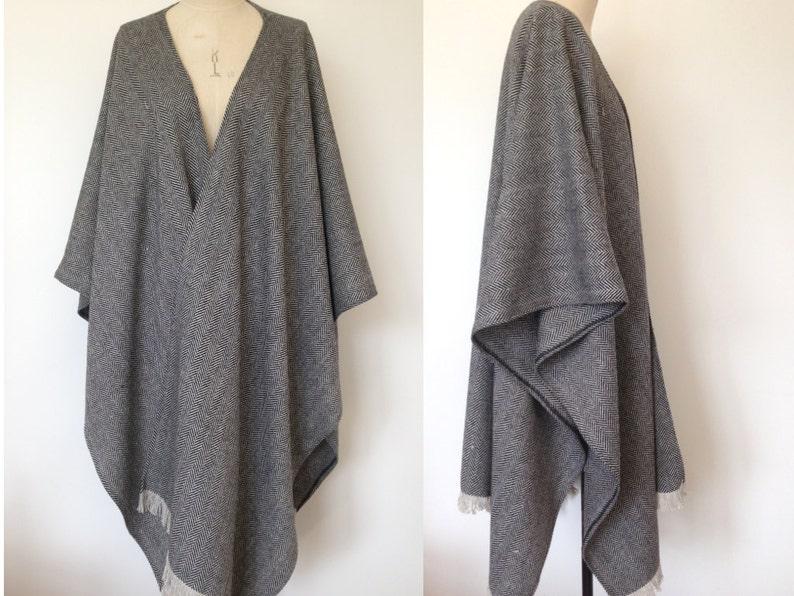 55284c274 Wool Poncho Herringbone Wool Large Oversized Poncho Winter | Etsy