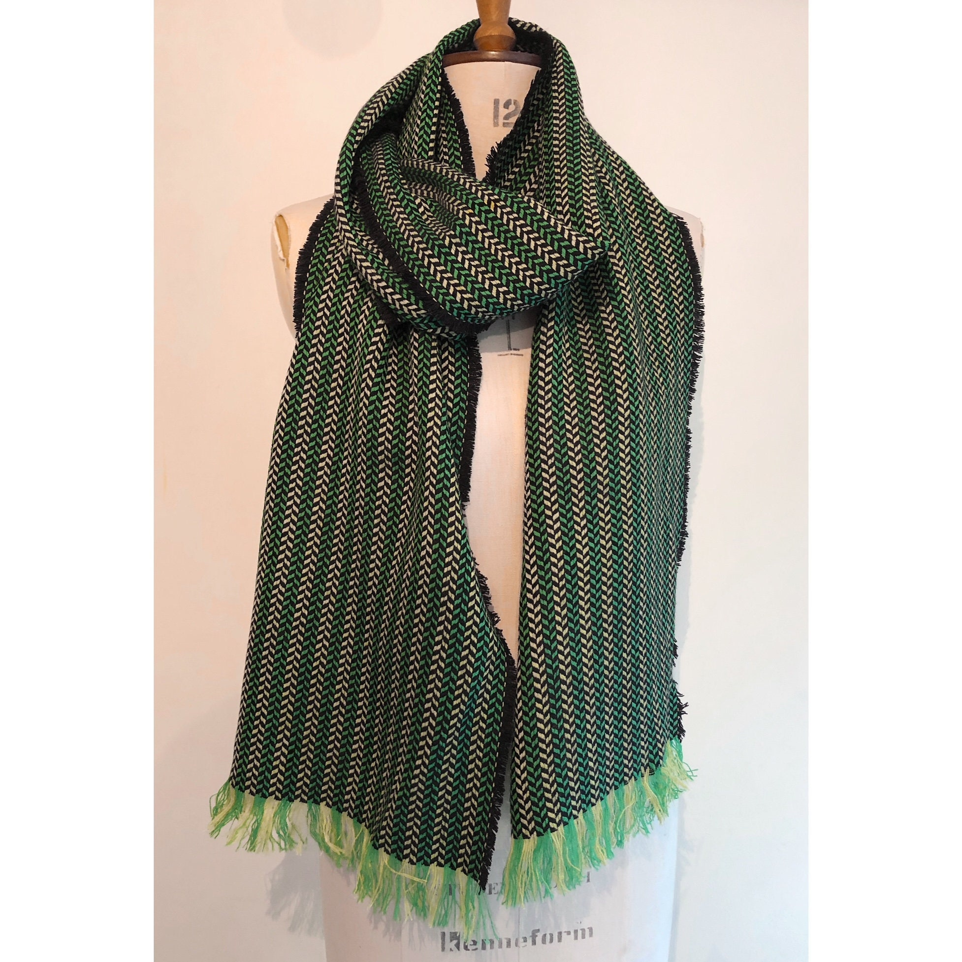 53f3454892dc8 Olive Green Herringbone Wool Oversized Blanket Scarf