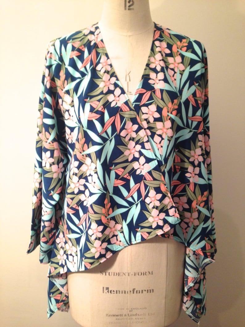 554ce218f45 Kimono Japanese Bamboo Print Soft Jacket Waterfall Jacket