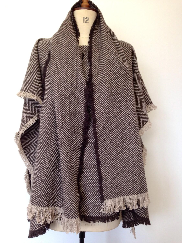 Mens Poncho - Brown Herringbone Wool Poncho - Brown Tweed