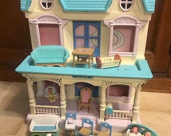 Vintage Fisher Price Loving Family Dollhouse and Accessories Lot 1993