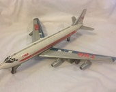 Vintage Linemar Tin Litho Boeing 707 Plane made in Japan