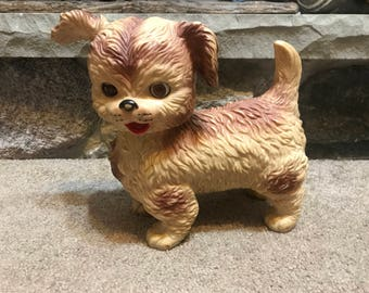 Vintage 1960s Edward Mobley Rubber Dog Puppy Squeak Toy Sleepy Eyes