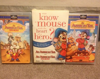 An American Tale and An American Tale Fievel Goes West VHS Set