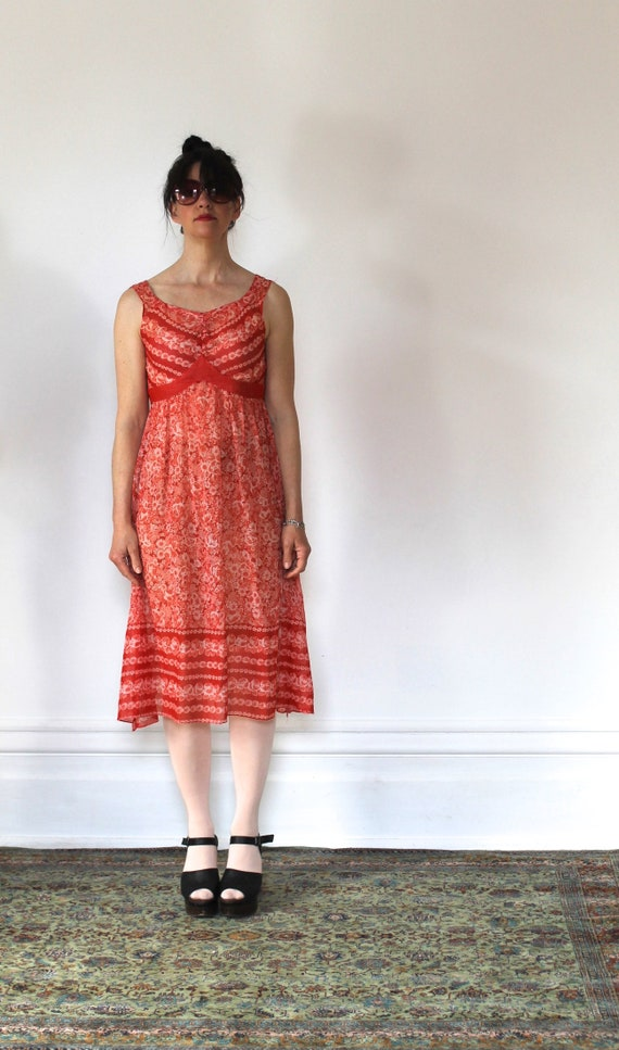 Vintage 70s Sundress/Orange Daisies/Light Cotton/… - image 2