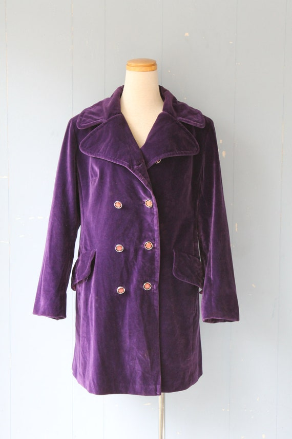 Vintage 70s Velvet Trench  Coat/Purple/Boho/
