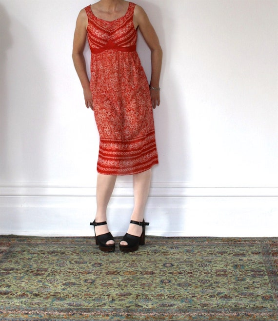 Vintage 70s Sundress/Orange Daisies/Light Cotton/… - image 1