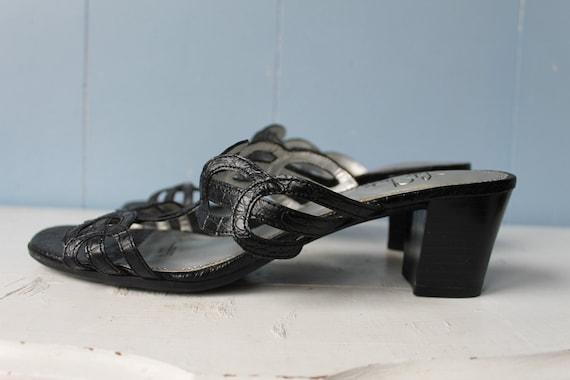 Vintage 90s Black Strappy Block Heel Mules/Women'… - image 5