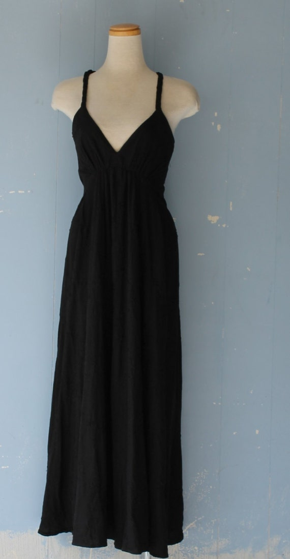 Vintage 90s Black Goddess Dress/Cotton/Maxi Dress/