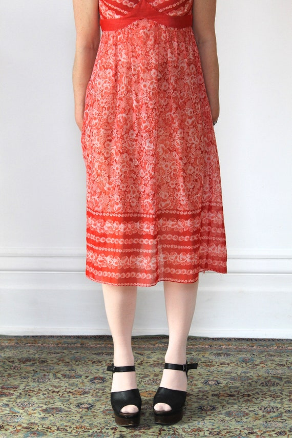 Vintage 70s Sundress/Orange Daisies/Light Cotton/… - image 6