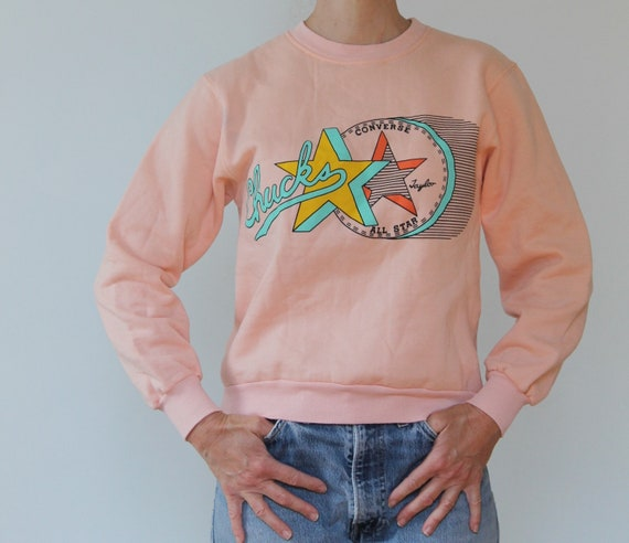Vintage 80s Pink Converse Sweatshirt/80s Graphic/V