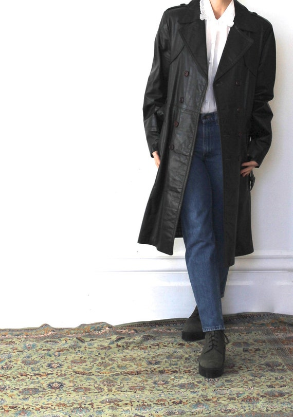 Vintage 70s Black Leather Trench Coat