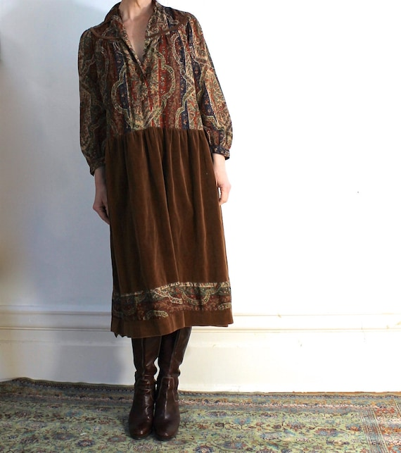 Vintage 70s Hippie Dress/Boho/Velvet/