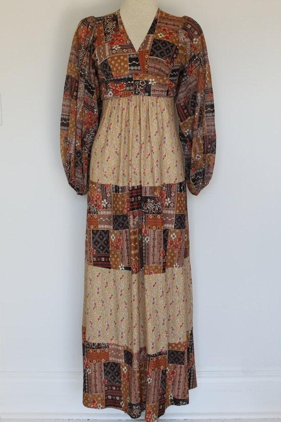 Vintage 1970s Boho Maxi Dress/Patchwork Print/Fest