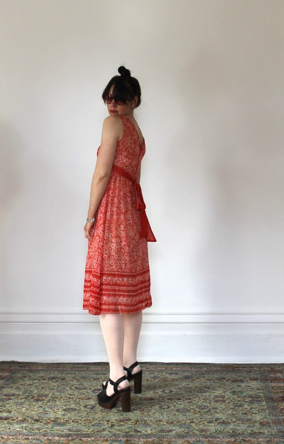 Vintage 70s Sundress/Orange Daisies/Light Cotton/… - image 5