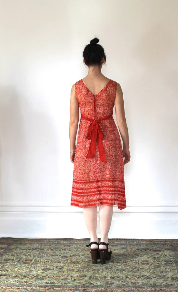 Vintage 70s Sundress/Orange Daisies/Light Cotton/… - image 9