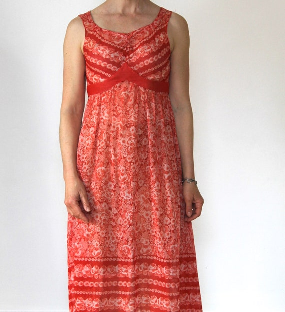 Vintage 70s Sundress/Orange Daisies/Light Cotton/… - image 7