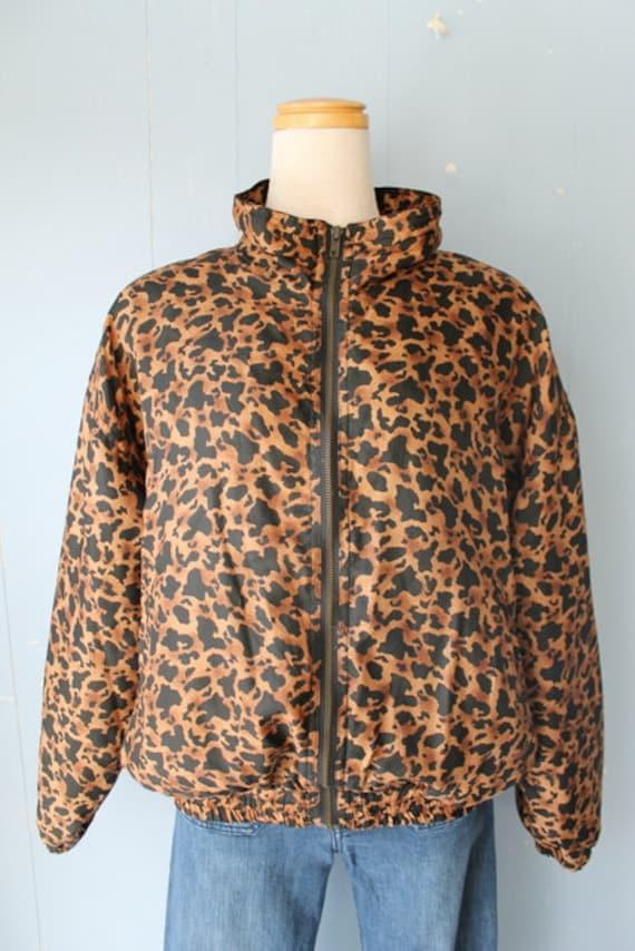 Vintage 90s Silk Animal Print Bomber Jacket/Leopar
