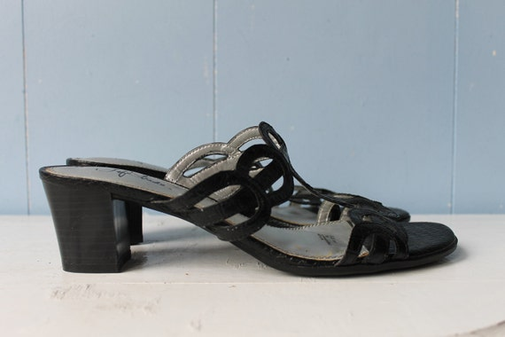 Vintage 90s Black Strappy Block Heel Mules/Women's