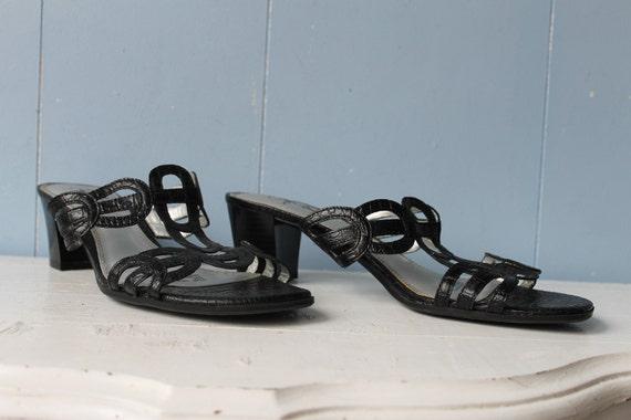 Vintage 90s Black Strappy Block Heel Mules/Women'… - image 3