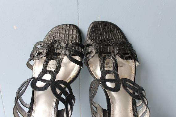 Vintage 90s Black Strappy Block Heel Mules/Women'… - image 1