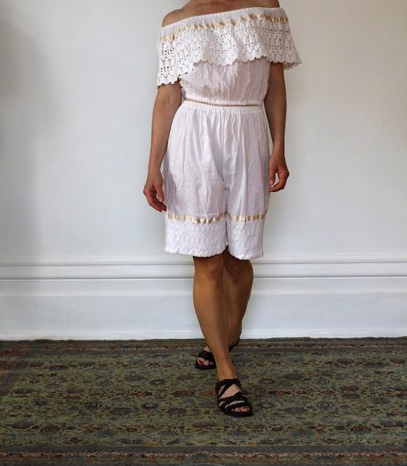 Vintage 70s Gauzy Cotton Top and Shorts Set/White/