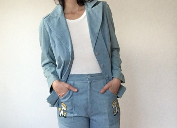 Vintage 1970s Magic Mushroom Suit/ Soft Cotton Cha