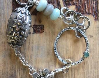 chrysoprase,metalwork bracelet Handmade trailertrashjewelry1