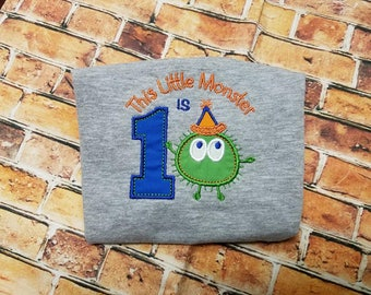 This Little Monster Is 1, appliqué shirt, embroidery shirt