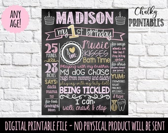 Pink and Gold First Birthday Chalkboard |  1st Birthday Chalkboard Sign | First Birthday Chalkboard Girl | First Birthday Chalkboard Poster