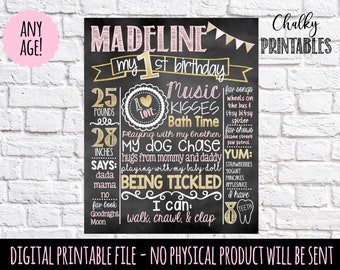 First Birthday Chalkboard | Pink and Gold 1st Birthday Chalkboard Sign | First Birthday Chalkboard Girl | First Birthday Chalkboard Poster