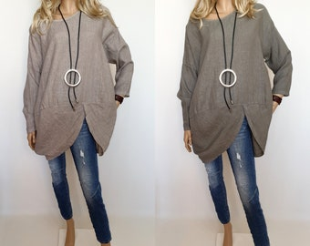 9d696b0ac1cd Italian Boutique 100% Linen Lagenlook Tunic Quality Quirky Boho Different