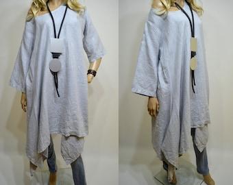 a3605edf722 42 44 46 48   14 16 18 20 Italian Boutique 100% Linen Lagenlook Tunic Dress  Asymmetric Elegant