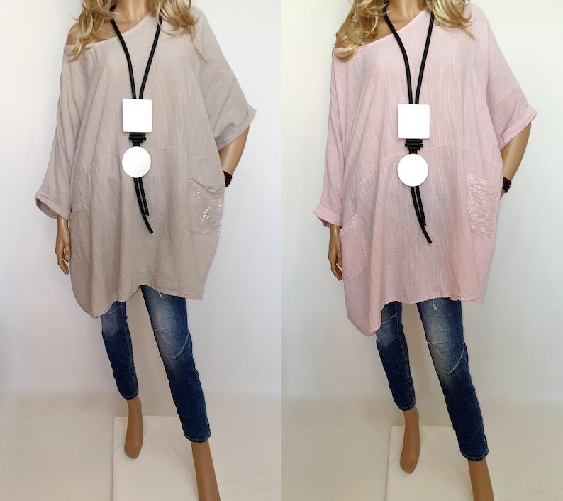 Italian Boutique 100/% Cotton Lagenlook Long Tunic Poncho Plus Size Sequins