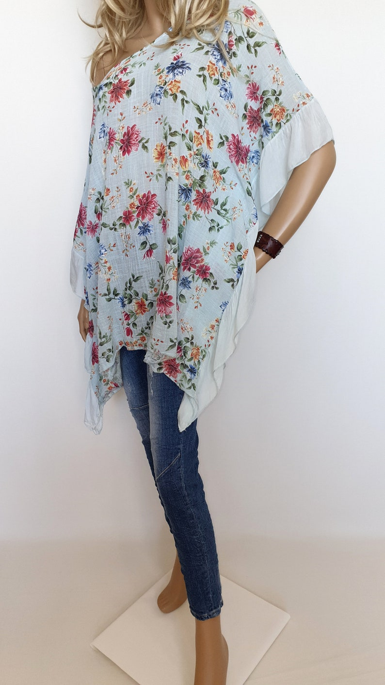 Italian Boutique Cotton-Silk Lagenlook Tunic Poncho Flowers Lovely