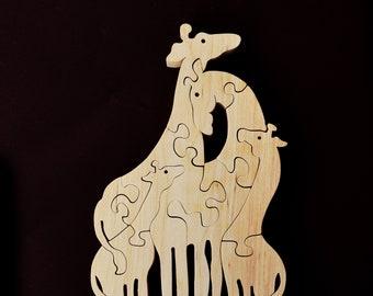 Handmade animal puzzle Wooden toy giraffe family Animal set for kids