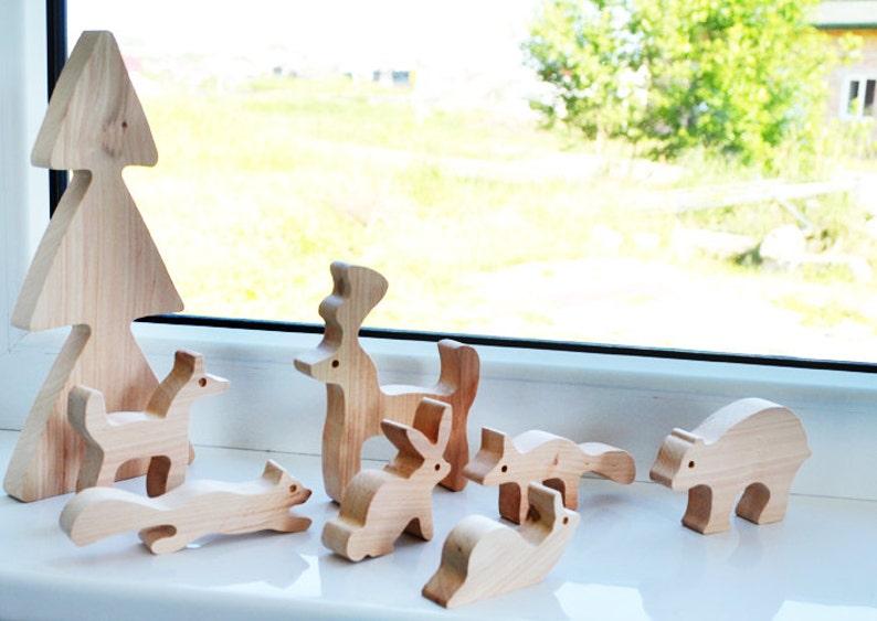 Pretend play animals. Wooden animals set. Woodland playset image 0