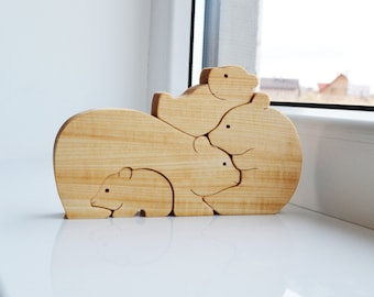 bears family Father's day gifts Wood bear Wooden Puzzle bear Educational toys montessori Mother's Day gift Animal puzzle wooden balance toy
