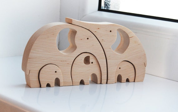 Animal puzzle Wooden elephants family Puzzle Toy Wooden Puzzle elephant Educational toys Funny Mother's day gifts Mother in law