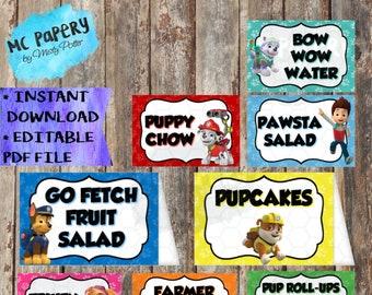 Paw Patrol Editable Food Tents