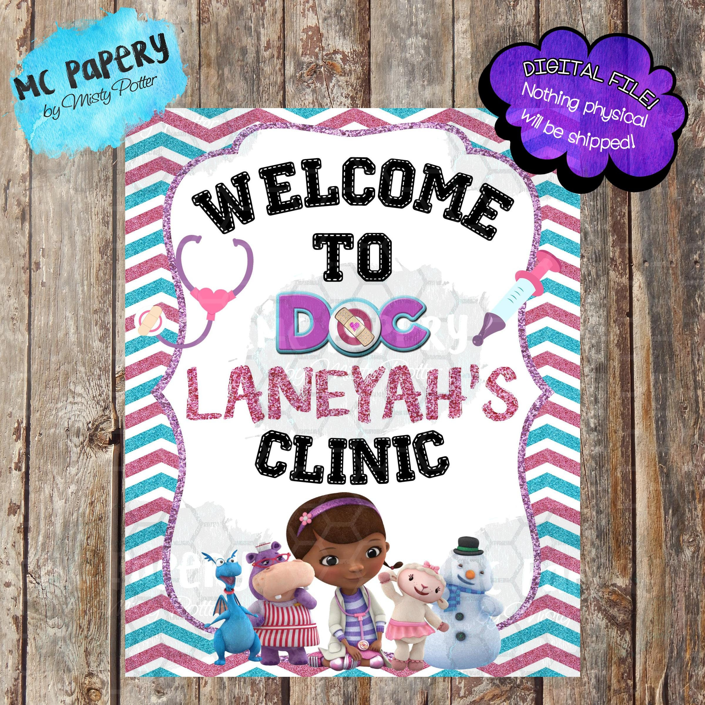 Doc Mcstuffins Party Welcome Sign Doc Mcstuffins Birthday Etsy