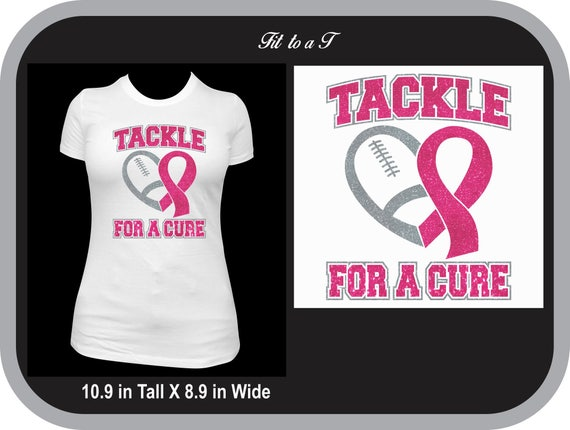 0e6660b12 Breast Cancer Awareness Football Glitter T-Shirt Tackle