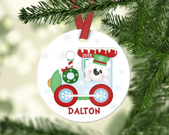 personalized kids christmas ornament personalized train etsy