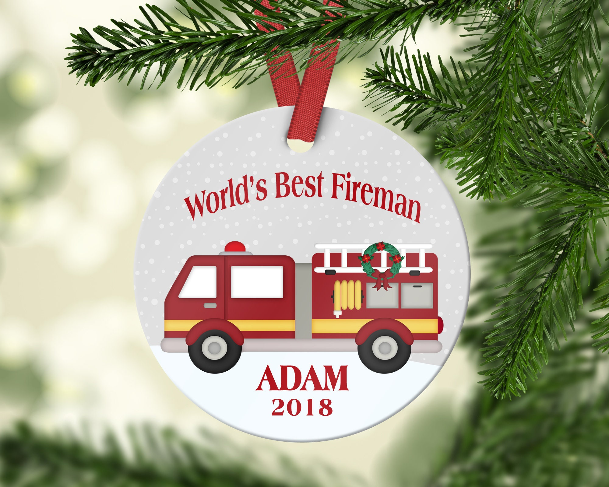 World\'s Best Fireman Christmas Ornament Personalized | Etsy