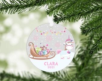 Personalized Unicorn Christmas Ornament, Custom Ornament, Girl Ornament, Stocking Stuffer, Kids Christmas Ornament
