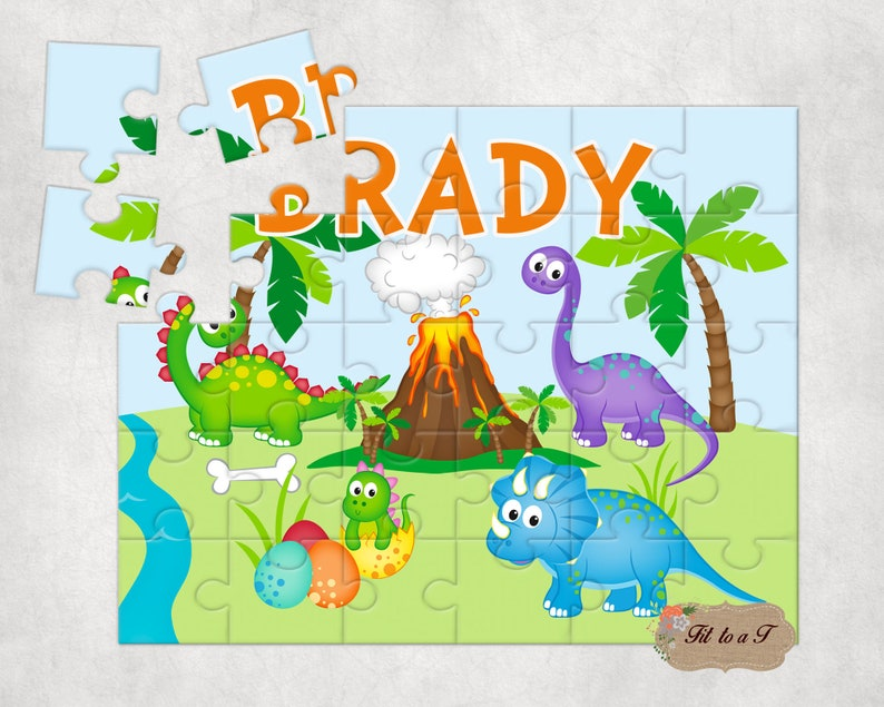 Personalized Dinosaur Jigsaw Puzzle Personalized Gifts for image 0
